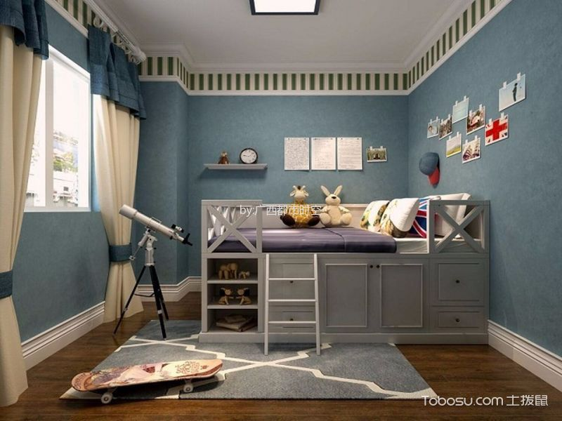 儿童房蓝色背景墙地中海风格装饰效果图