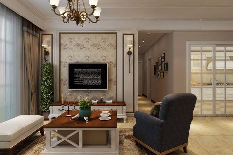 客厅窗帘美式风格装修设计图片
