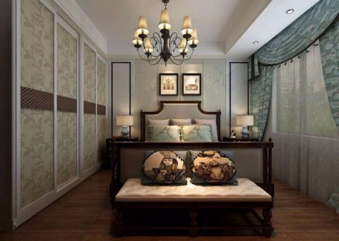 卧室推拉门美式风格装饰图片
