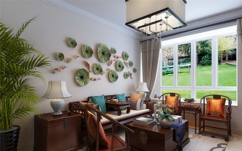新中式风格106平米三室两厅室内装修效果图