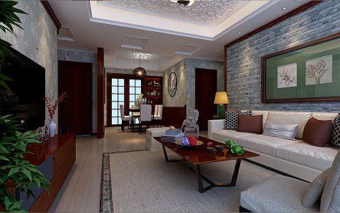 客厅背景墙新中式风格装饰图片