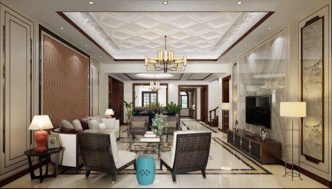 新中式风格180平米楼房房子装饰效果图