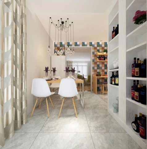 餐厅博古架北欧风格装饰设计图片