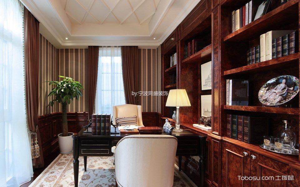 书房咖啡色窗帘美式风格装饰图片