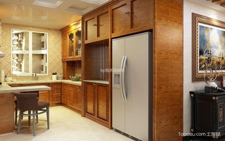 厨房白色吧台美式风格装潢设计图片