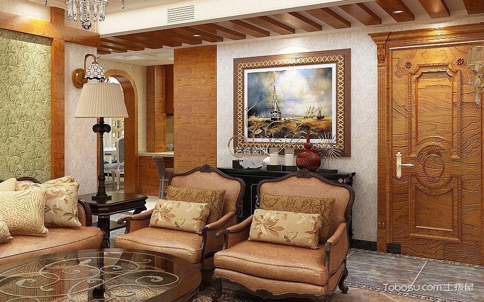 客厅白色灯具美式风格装修效果图