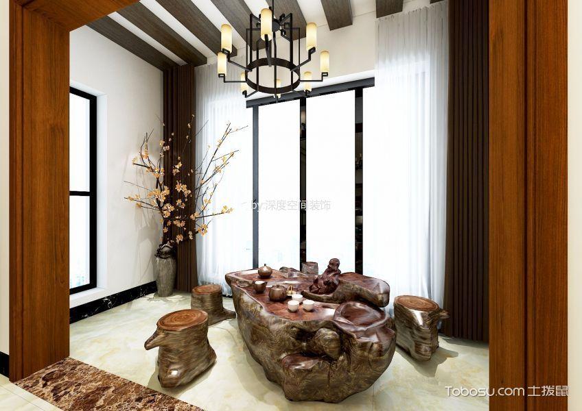阳台咖啡色窗帘中式风格装饰设计图片