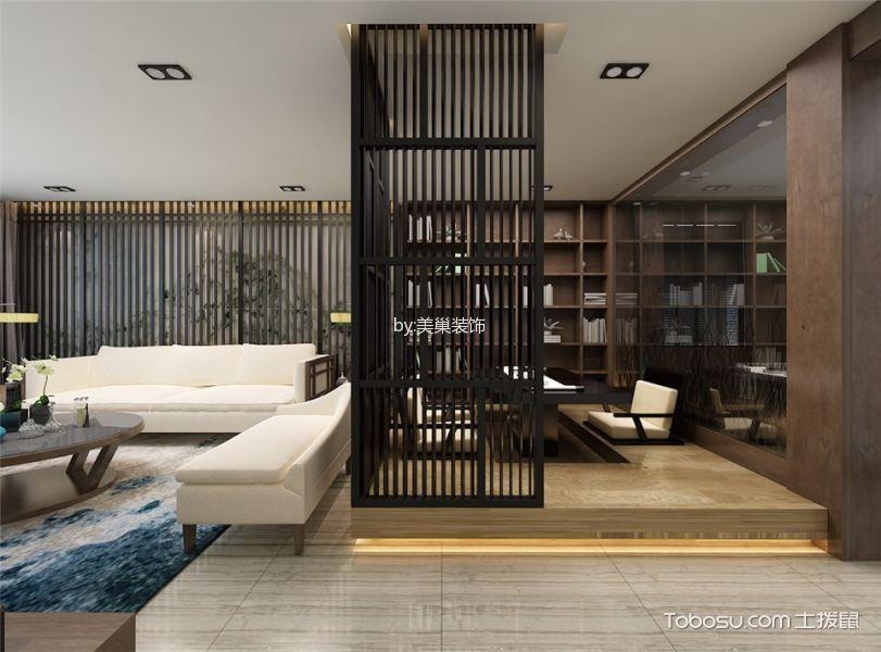 书房咖啡色博古架新中式风格效果图