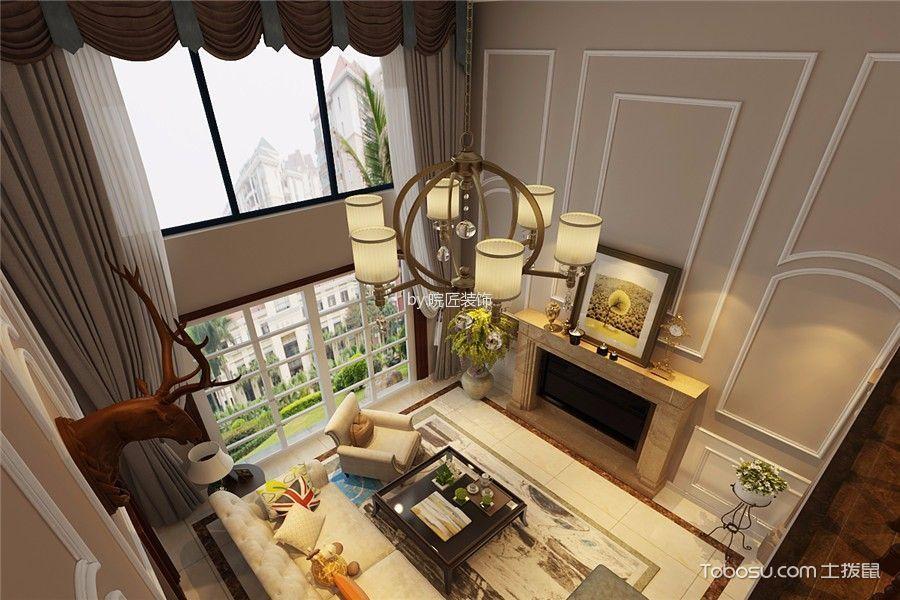 客厅米色灯具美式风格效果图