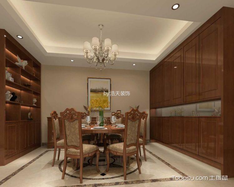 餐厅咖啡色博古架新中式风格装修效果图
