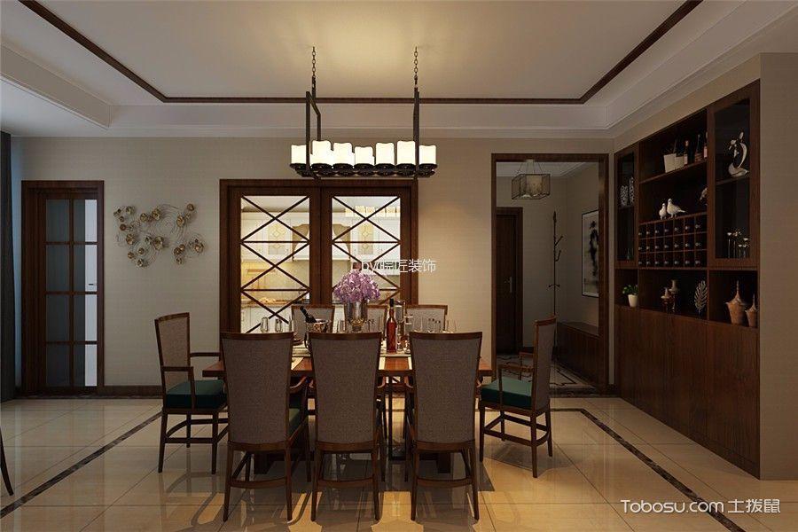 餐厅咖啡色博古架新中式风格装修设计图片