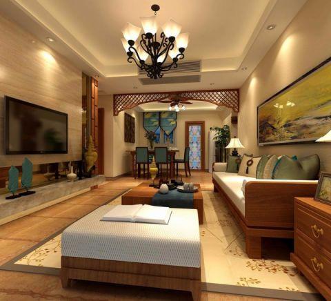 东南亚风格120平米三室两厅室内装修效果图