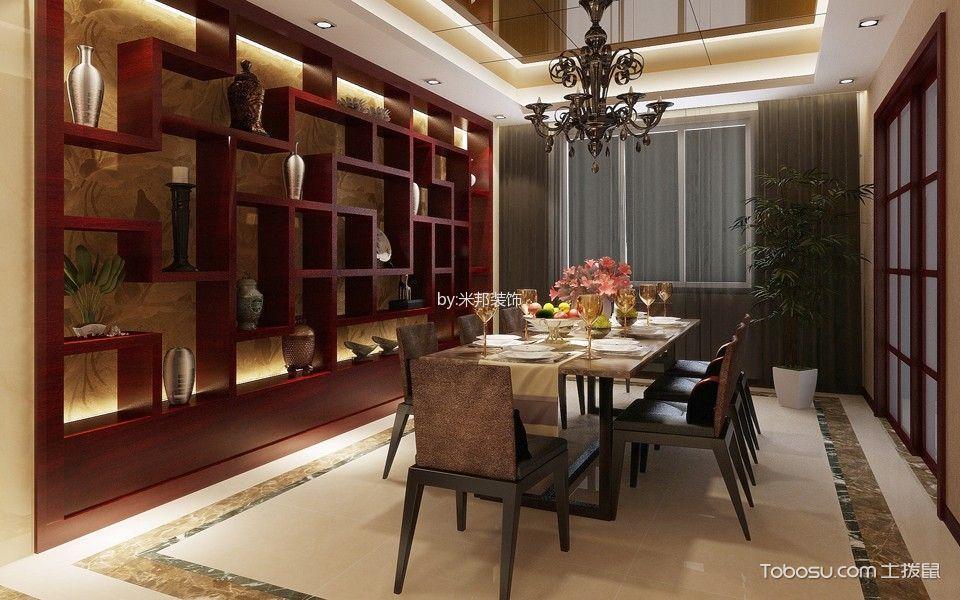 餐厅红色博古架新中式风格装饰效果图