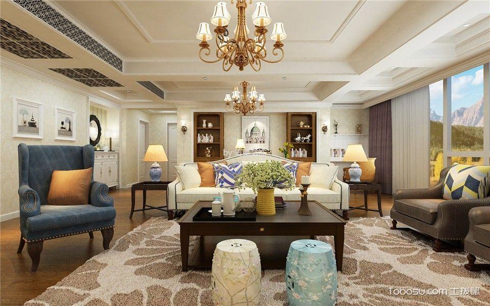 客厅米色灯具美式风格装修效果图