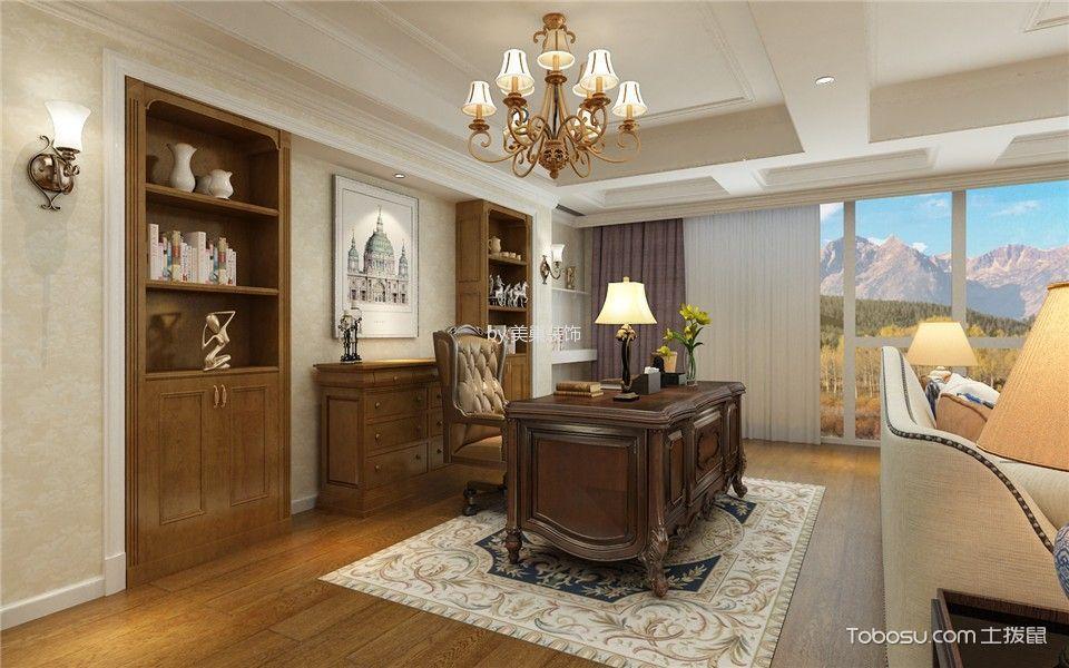 书房白色窗帘美式风格装潢效果图