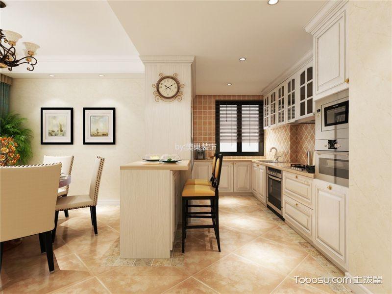 厨房白色吧台美式风格装修图片
