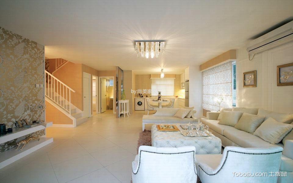 客厅白色地板砖现代风格装修效果图