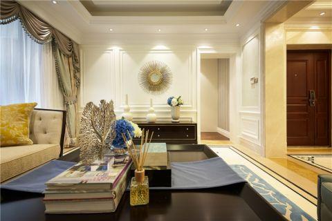 客厅白色背景墙简欧风格装修设计图片