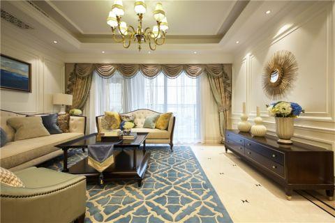 客厅米色灯具简欧风格装饰设计图片