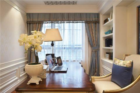 书房彩色窗帘简欧风格装修效果图