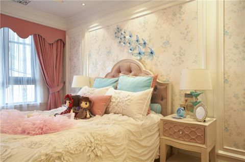 卧室粉色窗帘简欧风格装饰效果图