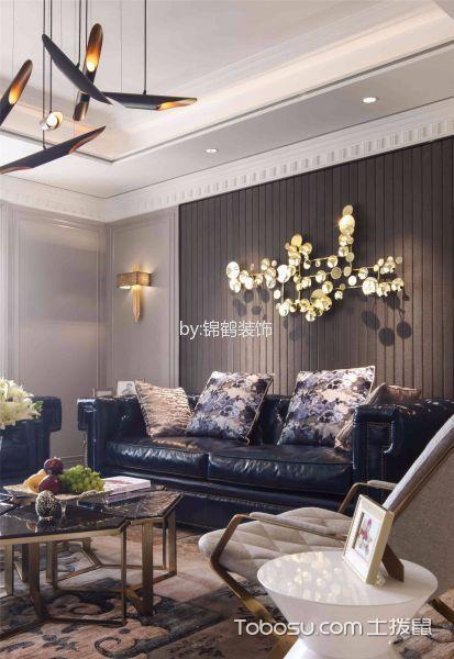 客厅黑色灯具美式风格装饰图片