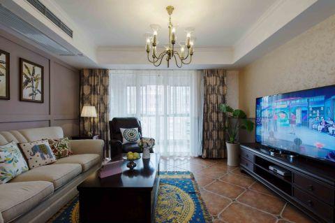 美式风格120平米三房两厅新房装修效果图