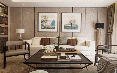 新中式风格120平米三房两厅新房装修效果图