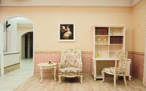 书房背景墙法式风格装潢图片