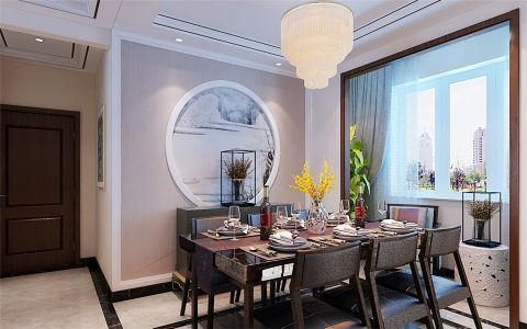 餐厅窗帘新中式风格装潢图片