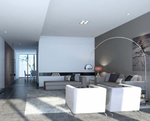 现代简约风格86平米两房两厅新房装修效果图