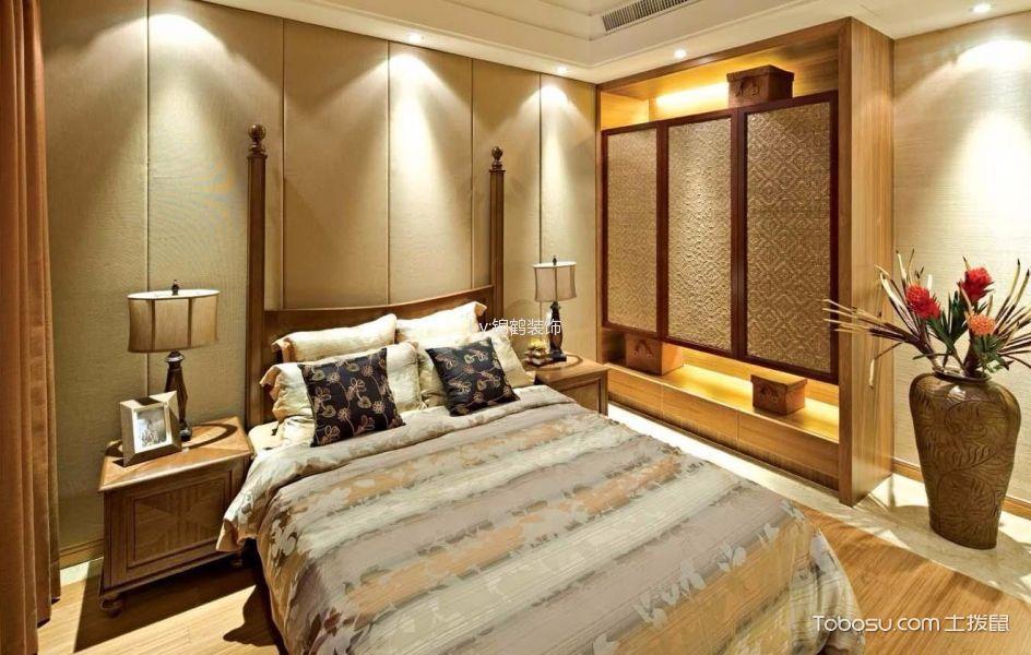 卧室 背景墙_保利茉莉公馆105平米中式风格效果图