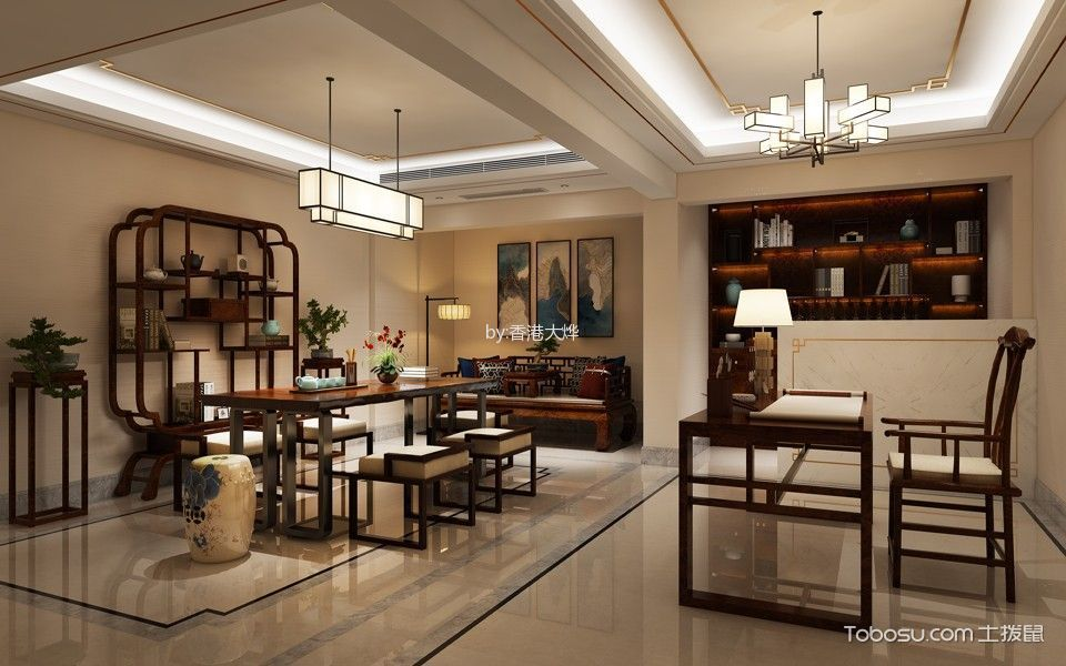 餐厅米色榻榻米美式风格装饰设计图片