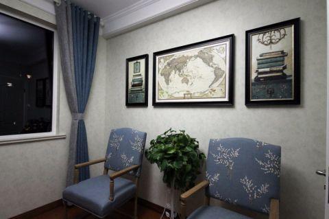 书房窗帘美式风格装潢效果图