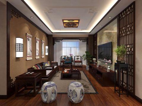 中式风格90平米2房2厅房子装饰效果图