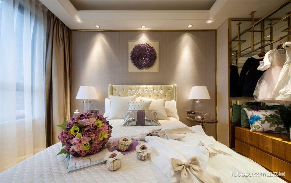 卧室米色背景墙现代简约风格装修图片