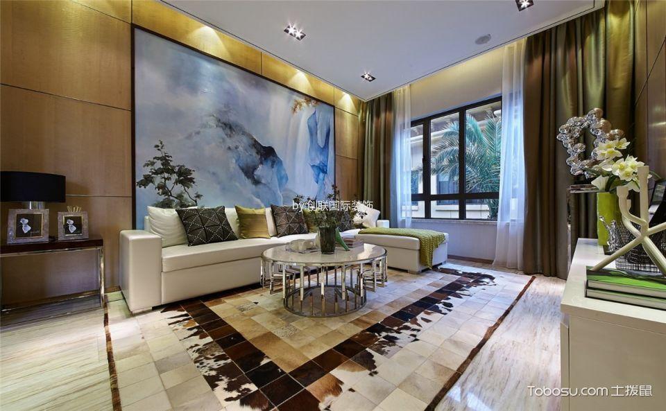 客厅黄色背景墙简约风格装潢图片