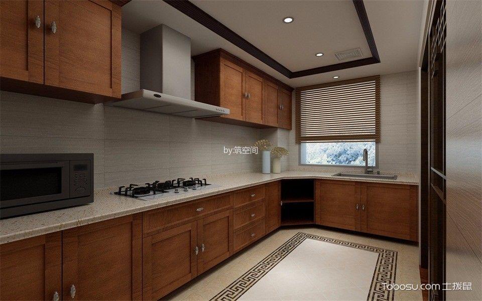 厨房 橱柜_新中式风格143平米套房新房装修效果图