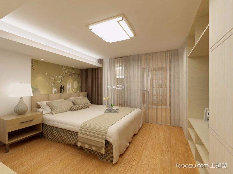 卧室咖啡色窗帘日式风格装饰效果图