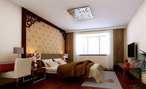 中式风格124平米三房两厅新房装修效果图