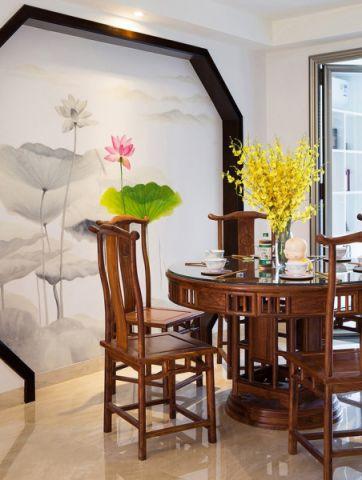 新中式风格120平米两房两厅新房装修效果图