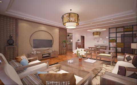 新中式风格128平米三室两厅室内装修效果图