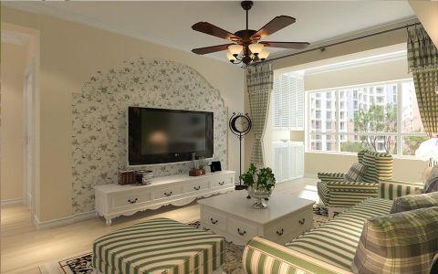 客厅飘窗田园风格装饰设计图片