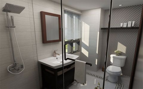 卫生间窗帘新中式风格装修效果图
