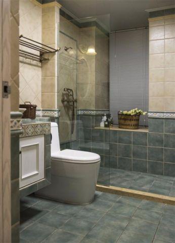 卫生间背景墙地中海风格装潢设计图片
