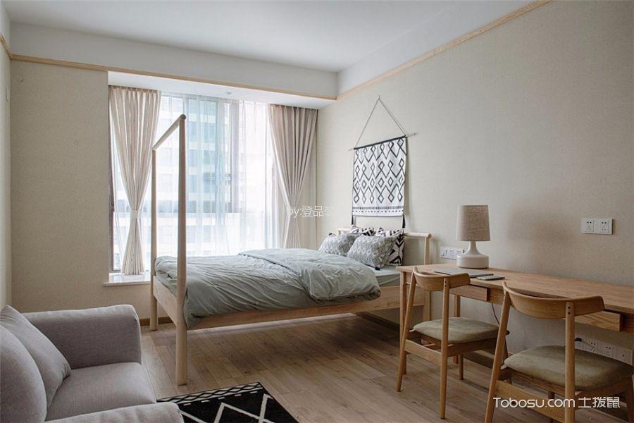 卧室白色窗帘日式风格装饰效果图