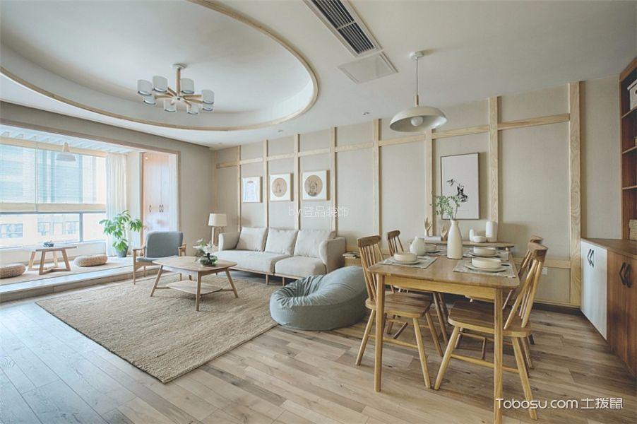 客厅白色吊顶日式风格装潢图片