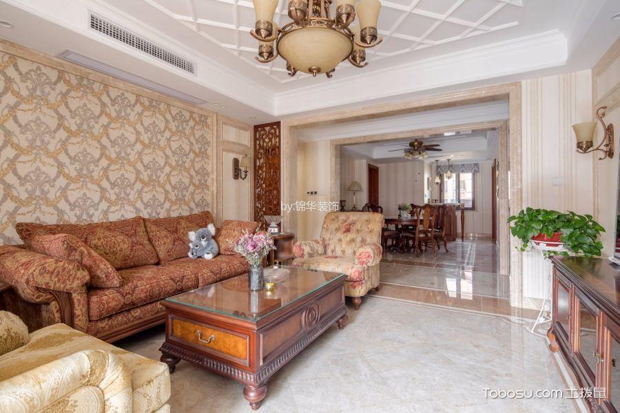 美式风格134平米3房2厅房子装饰效果图