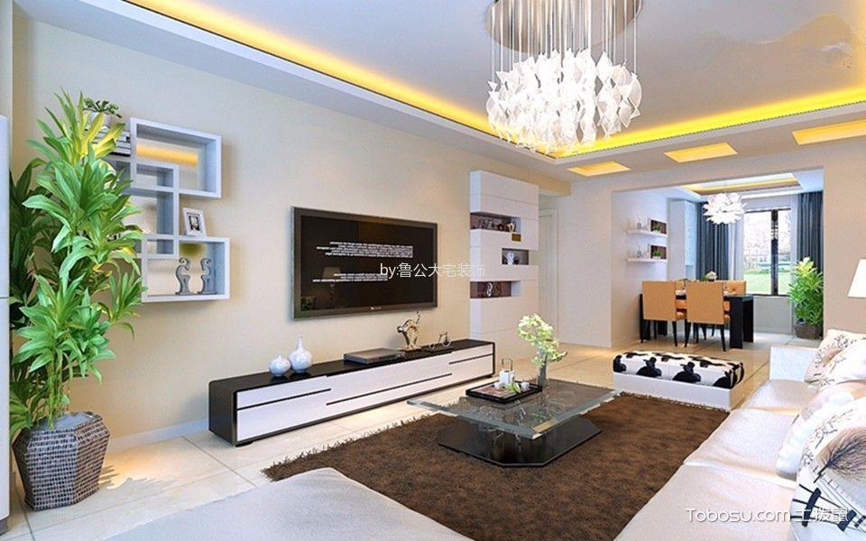 客厅 背景墙_现代简约风格95平米2房2厅房子装饰效果图