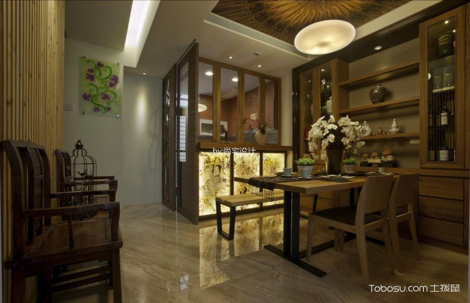 餐厅黄色博古架新中式风格装潢效果图
